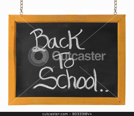 Back to school text on blackboard stock photo, Back to school text on blackboard. isolated over white by odua images