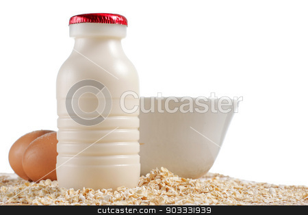 breakfast stock photo, Breakfast - milk, eggs, cereal on white background by odua images