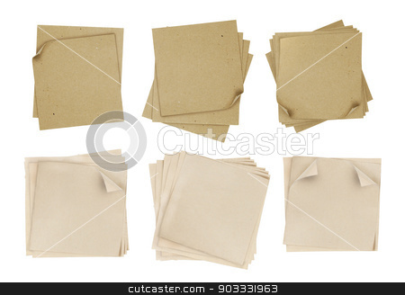 brown and yellow note paper stock photo, series of note paper over white background by odua images