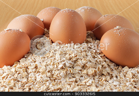breakfast stock photo, Breakfast - eggs, cereal on white background by odua images