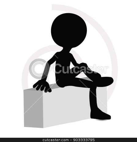 3d man in sitting pose stock vector clipart, EPS Vector 10 - 3d man in sitting pose by Istanbul2009
