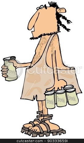 Caveman with a six-pack stock photo, This illustration depicts a caveman carrying a six-pack of beer. by Dennis Cox