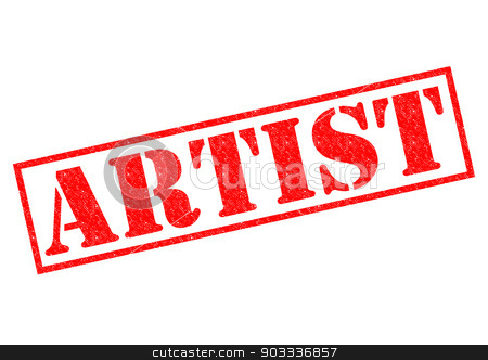 ARTIST stock photo, ARTIST red Rubber Stamp over a white background. by Chris Dorney
