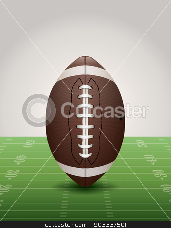 American Football on Grass Field Illustration stock vector clipart, An illustration of an American football on a football field, Vector EPS 10 available. EPS contains transparencies and a gradient mesh in the dropshadow. by Jason Enterline