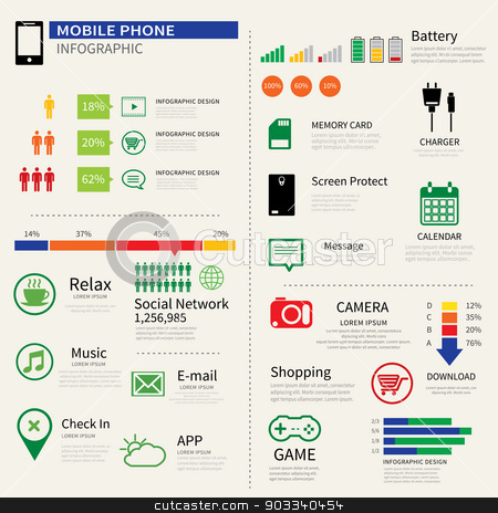 mobile smart phone infographic  stock vector clipart, mobile smart phone infographic  by kaisorn