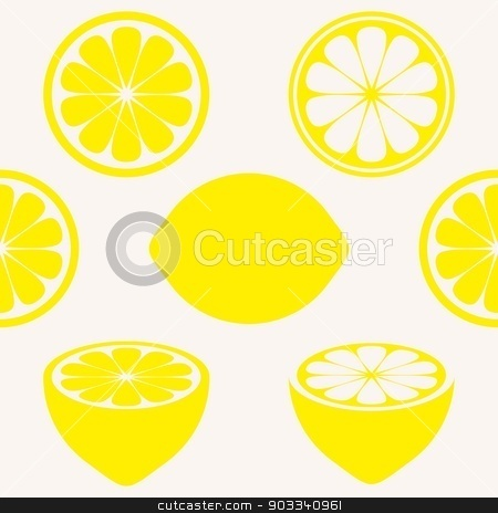 Seamless pattern stock vector clipart, Seamless pattern with various yellow lemon symbols by blumer