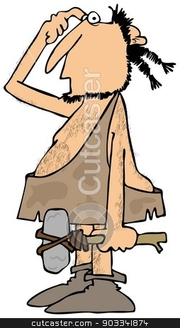 Confused caveman with a rock hammer stock photo, This illustration depicts a confused looking caveman scratching his head and carrying a stone hammer. by Dennis Cox