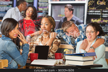 Man Sexually Harrassing Students stock photo, Man sexually harassing diverse group of students in cafe by Scott Griessel