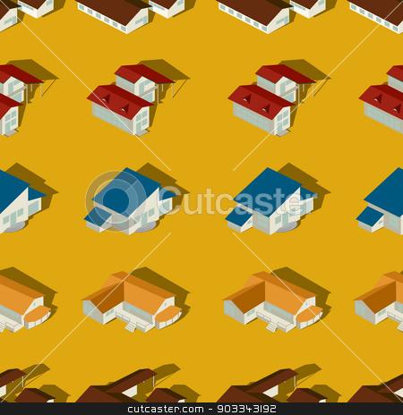 Suburban seamless pattern stock vector clipart, Seamless pattern design of a suburban city by Richard Laschon