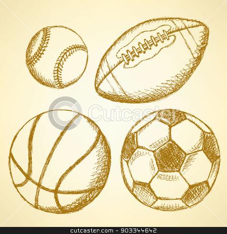Soccer, american football, baseball and basketball ball stock vector clipart, Sketch soccer, american football, baseball and basketball ball   by Lily