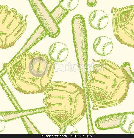 Sketch baseball ball, bat ang glove, seamless pattern stock vector clipart, Sketch baseball ball, bat ang glove, vintage seamless pattern   by Lily