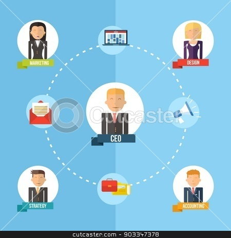 Global business organization flat concept illustration stock vector clipart, Digital Business era management chart concept in flat icons design style. Marketing web, network and CEO elements. EPS10 vector file organized in layers for easy editing. by Cienpies Design