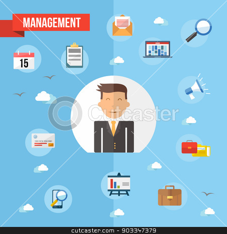Success businessman flat concept illustration stock vector clipart, Business management man illustration with flat icons design set. Marketing web, networking and app elements. EPS10 vector file organized in layers for easy editing. by Cienpies Design