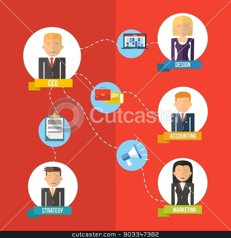 Online Business flat illustration management concept  stock vector clipart, Digital Business era management chart concept in flat icons design style. Marketing web, network and CEO elements. EPS10 vector file organized in layers for easy editing. by Cienpies Design