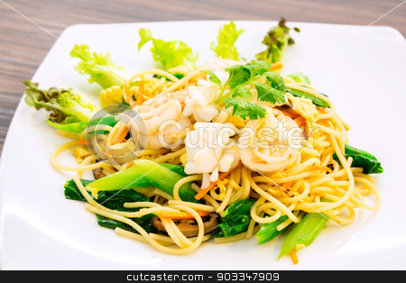 seafood Spaghetti stock photo, Hong Kong Style seafood Spaghetti with shrimp by Vichaya Kiatying-Angsulee
