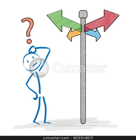 Stickman Decision stock vector clipart, Stickman on the crossroads on the white background. Eps 10 vector file. by Alexander Limbach