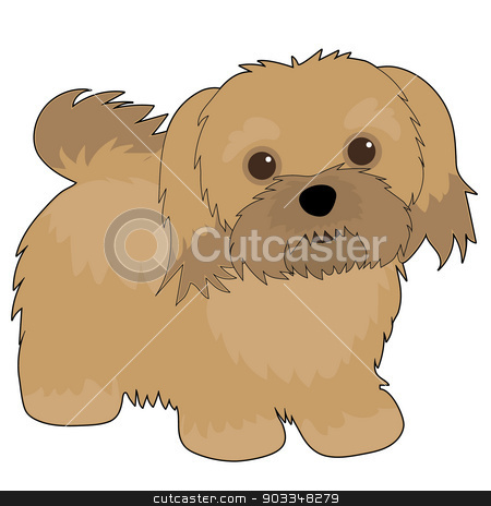Havanese stock vector clipart, A cartoon illustration of a Havanese dog by Maria Bell