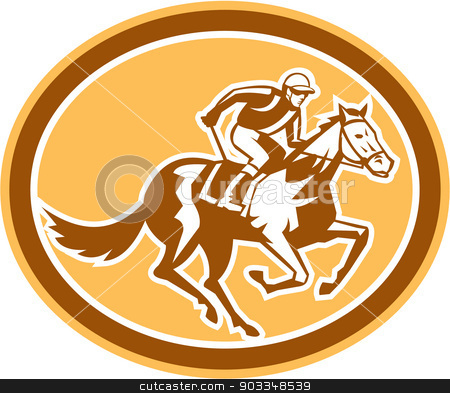 Jockey Horse Racing Oval Retro stock vector clipart, Illustration of horse and jockey racing viewed from side set inside circle shape on isolated background done in retro style. by patrimonio
