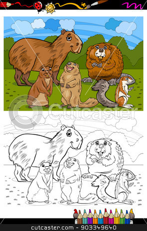 rodents animals cartoon coloring book stock vector clipart, Coloring Book or Page Cartoon Illustration of Black and White Funny Rodents Mammals Animals Mascot Characters Group for Children by Igor Zakowski