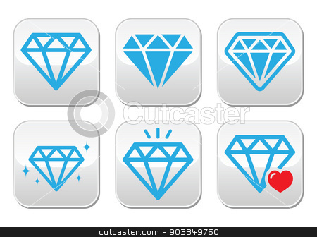 Diamond luxury vector buttons set stock vector clipart, Blue diamonds buttons set isolated on white  by Agnieszka Murphy