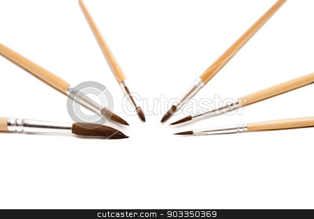 paint brush stock photo, different size artist paint brushes on white by Felix Furo