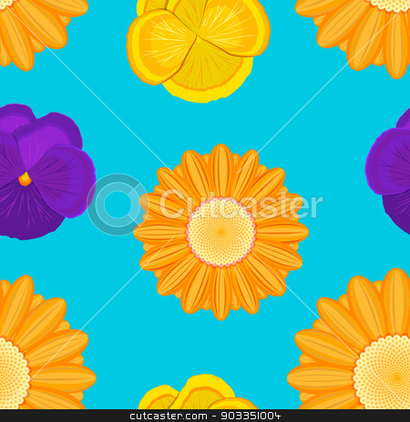flowers seamless blue pattern stock vector clipart, orange gerbera and violet flowers seamless blue pattern by Alexey Kurenkov