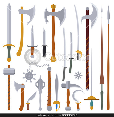 flat design colors medieval weapon set stock vector clipart, flat design colors medieval cold weapon set by Alexey Kurenkov