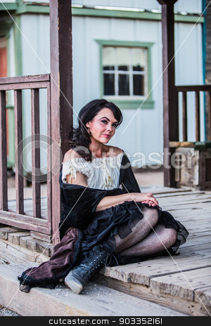 Saloon Girl Portrait stock photo, Portrait of an old west girl by Scott Griessel