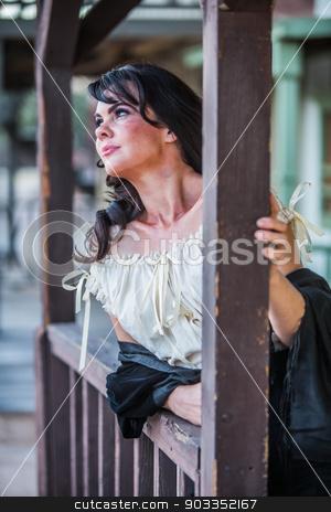 Saloon Girl Portrait stock photo, Portrait of an old west saloon girl by Scott Griessel