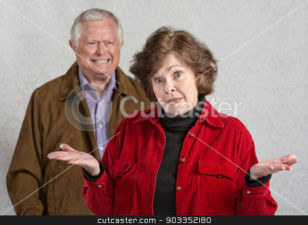Arguing Couple stock photo, Frustrated woman with hands up and angry man by Scott Griessel