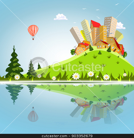 Vector abstract city reflected on the water stock vector clipart, Vector abstract city reflected on the water by Jupe