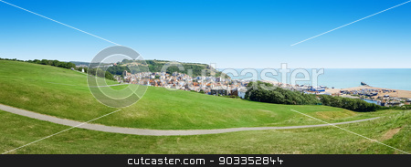 panoramic view over Hastings UK stock photo, A panoramic view of the historic Hastings in England by Markus Gann