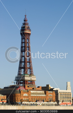 Blackpool Tower, Blackpool, England stock photo, Blackpool Tower, Blackpool, England is a Victorian steel lattice tower on the waterfront of the town and a well known historical landmark by Stephen Gibson