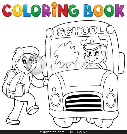 Coloring book school bus theme 2 stock vector clipart, Coloring book school bus theme 2 - eps10 vector illustration. by Klara Viskova