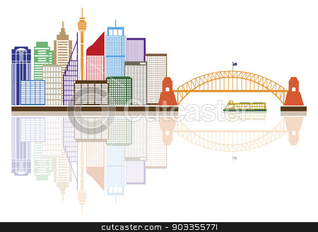 Sydney Australia Skyline Color Illustration stock vector clipart, Sydney Australia Skyline Landmarks Harbour Bridge Color with Reflection Isolated on White Background Illustration by Jit Lim