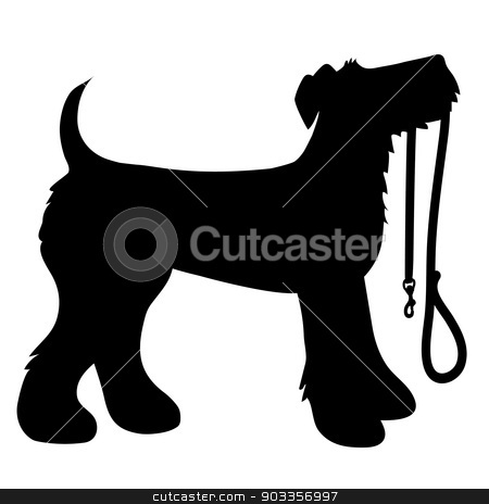AIredale Terrier Leash stock vector clipart, A cartoon black silhouette of an Airedale Terrier with a leash in its mouth by Maria Bell