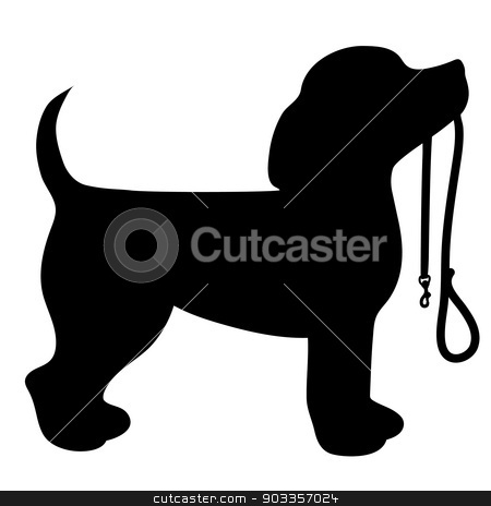 Beagle Leash stock vector clipart, A cartoon black silhouette of a Beagle with a leash in its mouth by Maria Bell