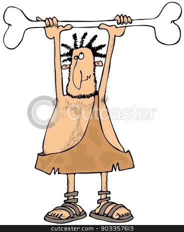 Caveman lifting a bone stock photo, This illustration depicts a caveman lifting a large bone over his head. by Dennis Cox