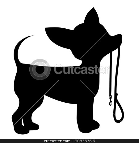 Chihuahua Leash stock vector clipart, A cartoon black silhouette of a Chihuahua with a leash in its mouth by Maria Bell