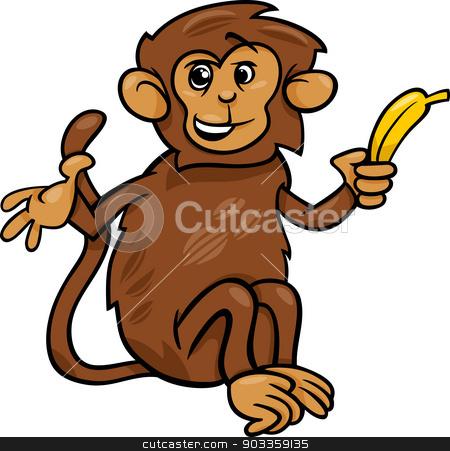 monkey with banana cartoon illustration stock vector clipart, Cartoon Illustration of Cute Monkey with Banana by Igor Zakowski