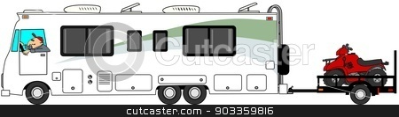 Motorhome towing ATV trailer stock photo, This illustration depicts a Class A motorhome towing a utility trailer with 2 ATV's. by Dennis Cox