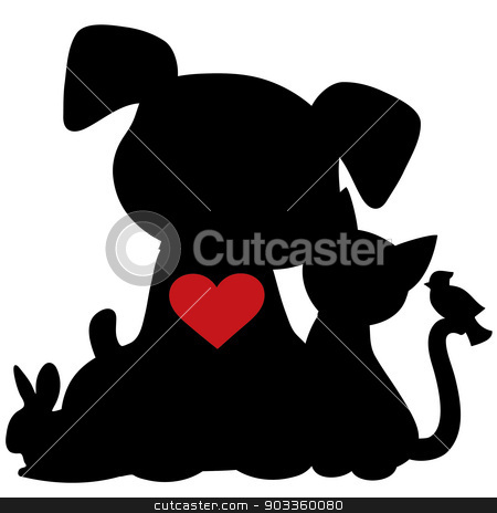 Puppy Kitten Silhouette stock vector clipart, A silhouette of a group of pets including a dog,cat,rabbit and bird. There is a red heart on the dogs chest by Maria Bell