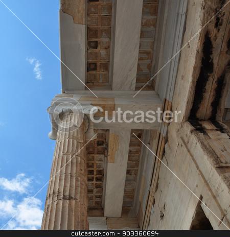 ionic column and ceiling acropolis stock photo, Ionic column and marble ceiling ancient architecture detail. Acropolis Propylea, Athens Greece. by sirylok