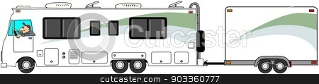 Motorhome towing cargo trailer stock photo, This illustration depicts a Class A motorhome towing a matching enclosed cargo trailer. by Dennis Cox