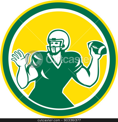 American Football Quarterback QB Circle Retro stock vector clipart, Illustration of an american football gridiron quarterback player throwing ball facing side set inside circle on isolated background done in retro style. by patrimonio