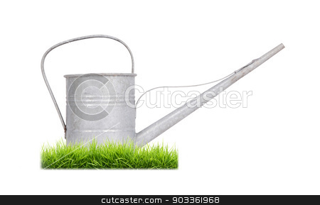 Aged metallic watering can isolated stock photo, Aged metallic watering can isolated on white background by michaklootwijk