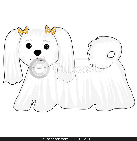 Maltese Dog stock vector clipart, A cartoon of a Maltese dog with bows in her hair by Maria Bell
