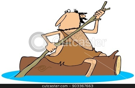 Caveman straddling a log stock photo, This illustration depicts a caveman straddling a floating log and paddling with a tree branch. by Dennis Cox