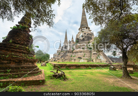 Ruins of acient stupas at Buddhist temple stock photo, Ruins of ancient stupa chedis at Wat Phra Sri Sanphet Buddhist temple. Asian religious architecture in Ayutthaya, Thailand  by Iryna Rasko