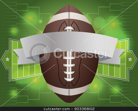 American Football Banner Illustration stock vector clipart, An american football and banner with field background. Vector EPS 10 available. EPS file contains transparencies. by Jason Enterline